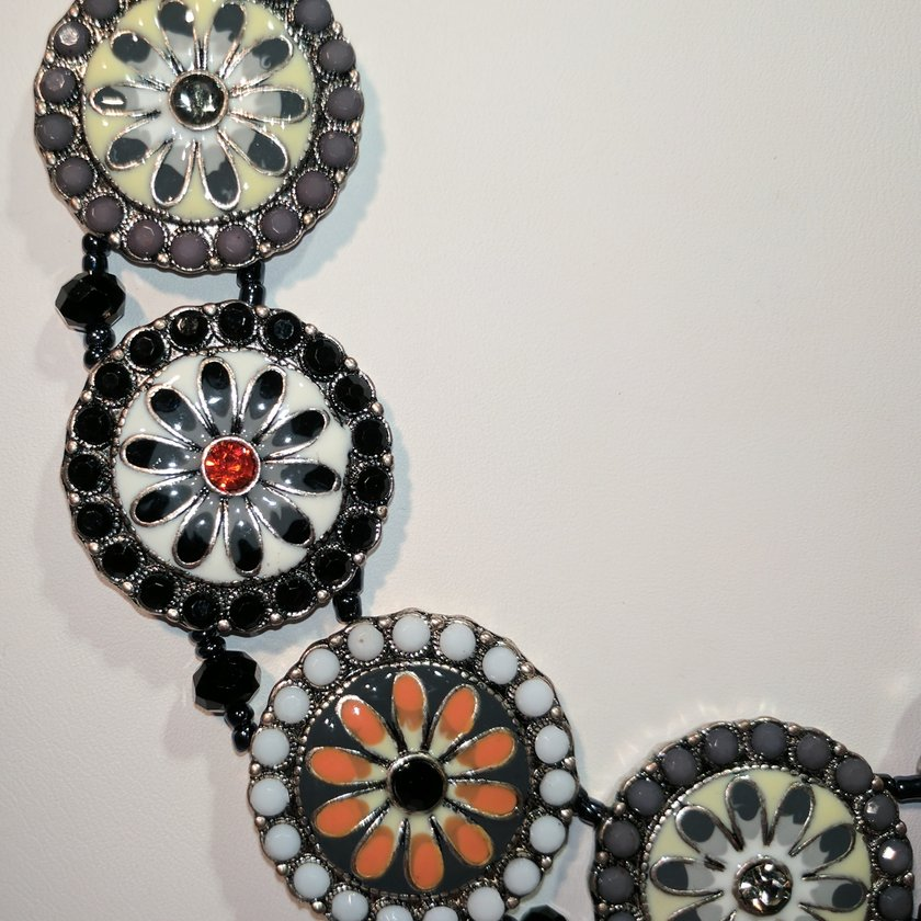 Black/Gray/White with Crystals and Beads