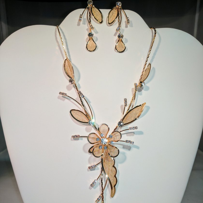 Flower Drop Necklace in Gold Tone - Earrings sold separately.