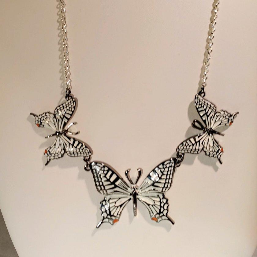 White Drop Butterfly Earrings