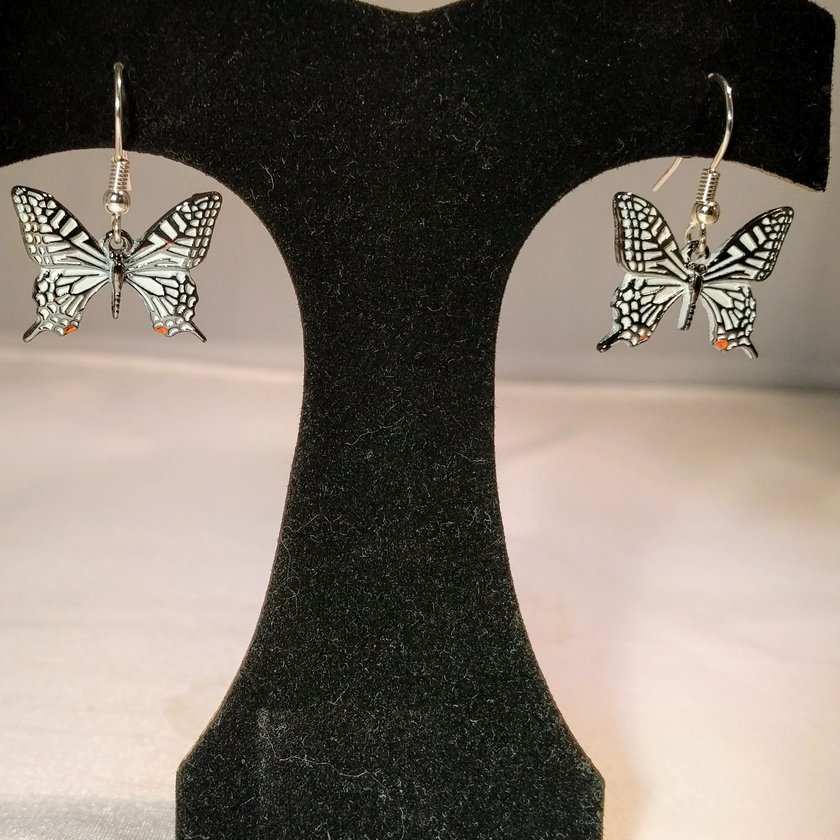 White Single Butterfly Necklace - Earrings sold separately.