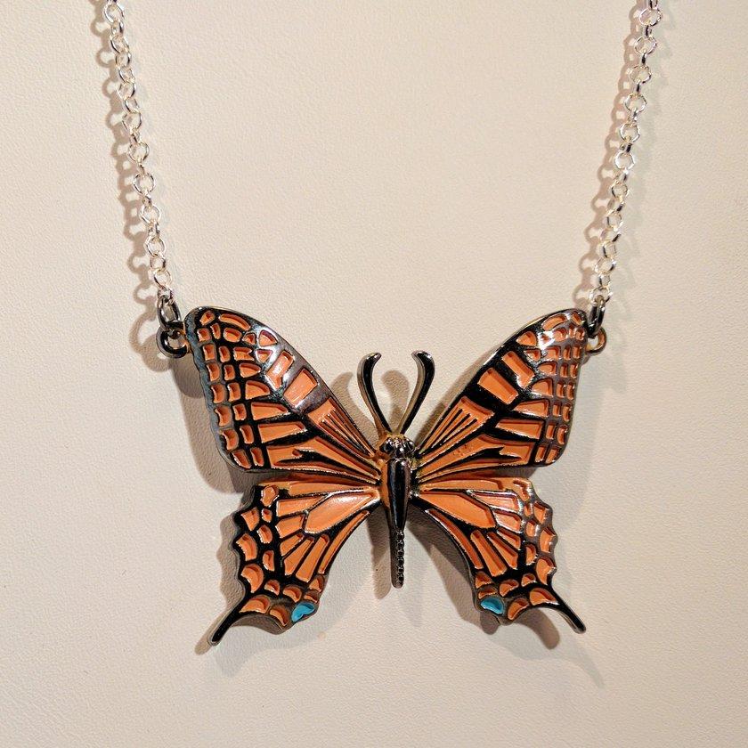 Orange Single Butterfly Necklace