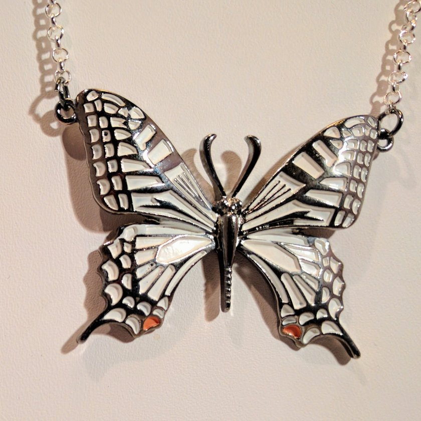 White Single Butterfly Necklace