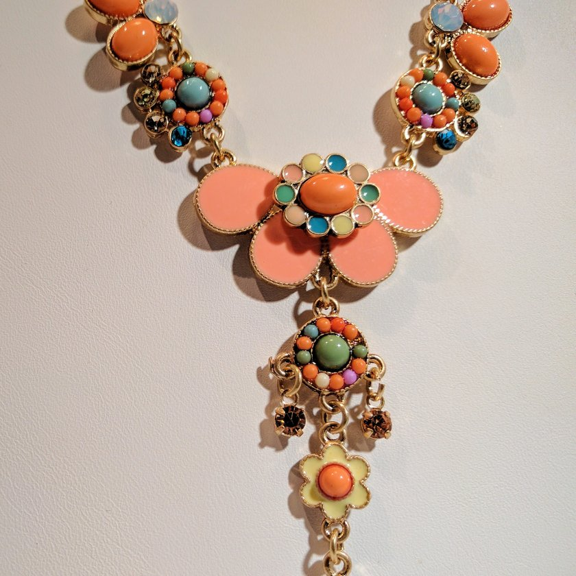 Butterfly, Flower and Rhinestones Orange