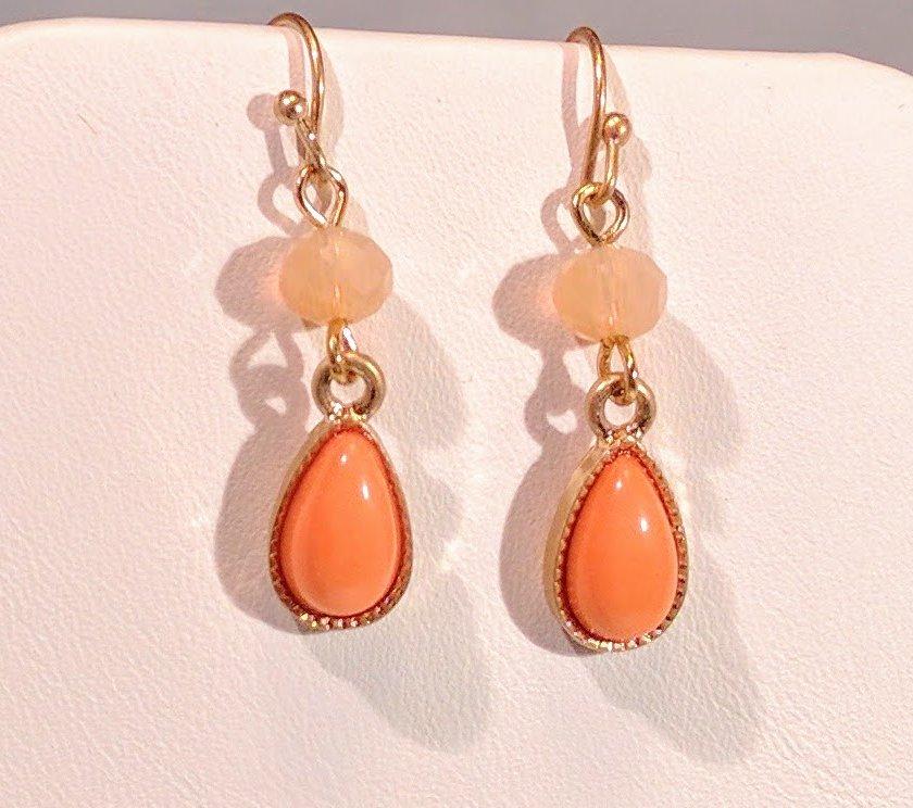 Butterfly, Flower and Rhinestones Orange - Earrings sold separately.