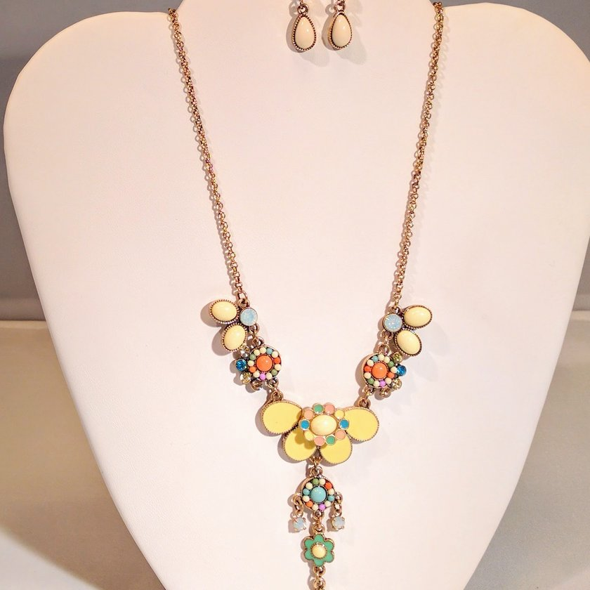 Yellow Drop Earrings - Necklace sold separately.