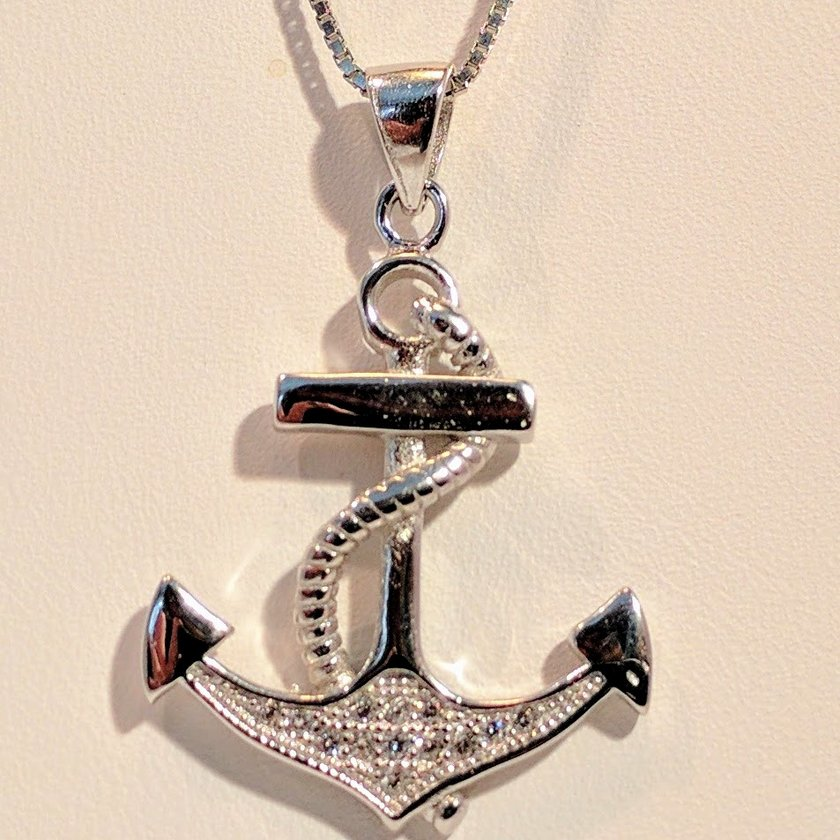 Anchor With Rope and Cubic Zirconia
