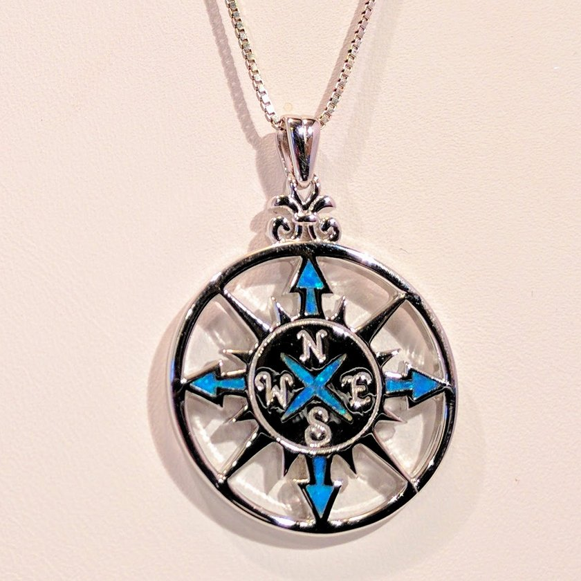 Compass Rose with Opal