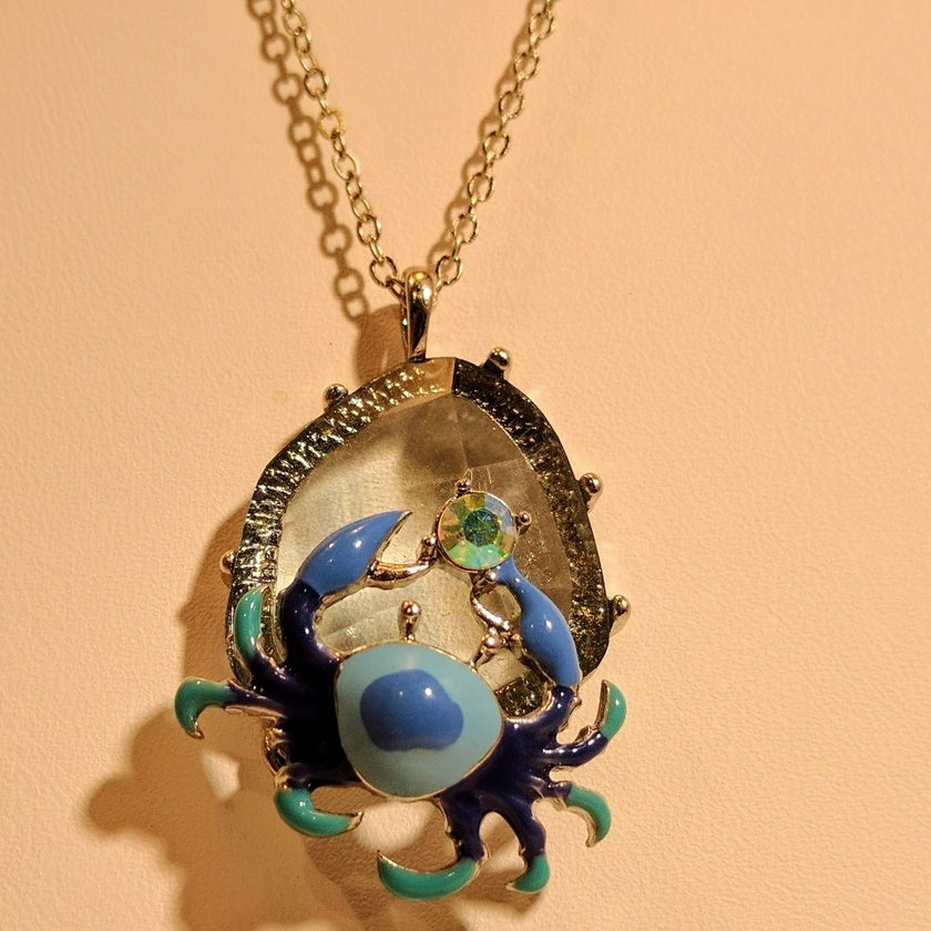 Crab in Blues and Green with Rhinestone