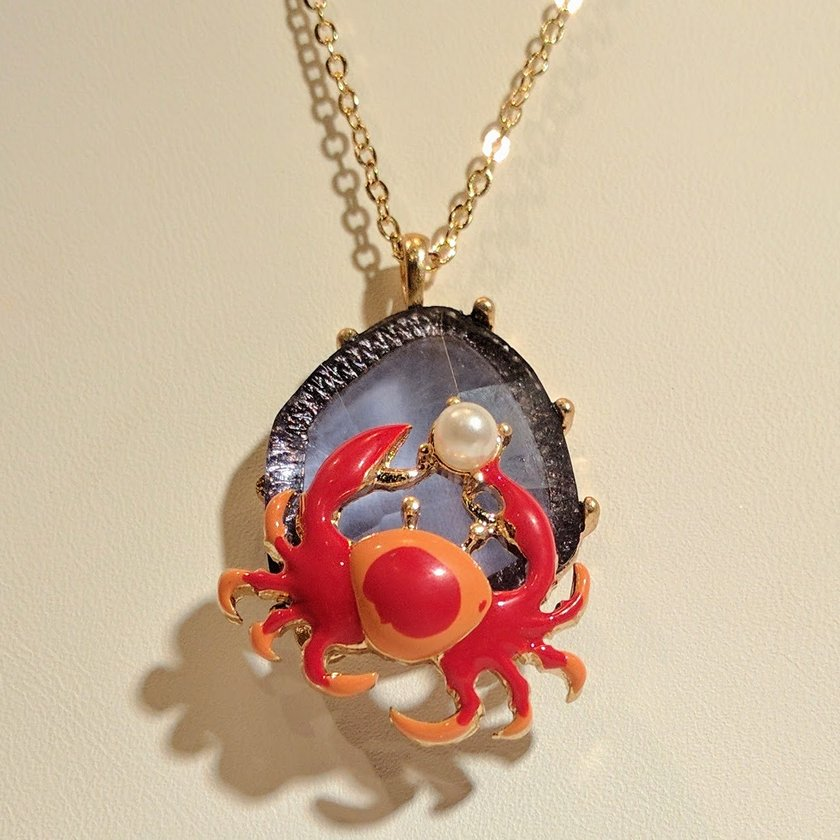Crab in Red and Orange with Pearl