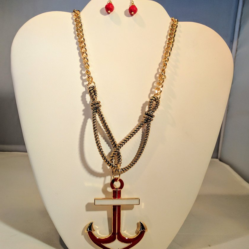 Red Anchor with White Accents - Earrings sold separately.