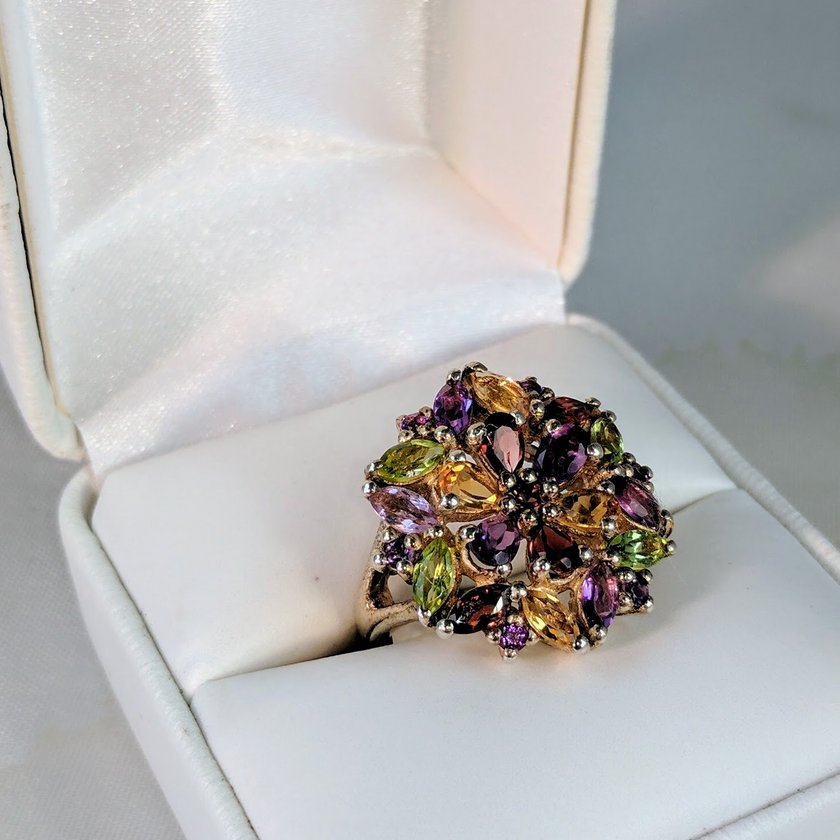 Multicolor Cluster Gem Ring