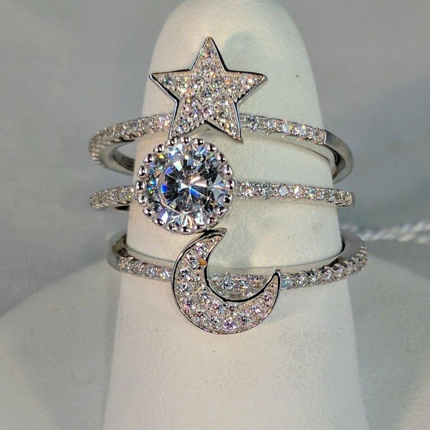 Swarovski Crystal Interlocking Star Sun and Moon