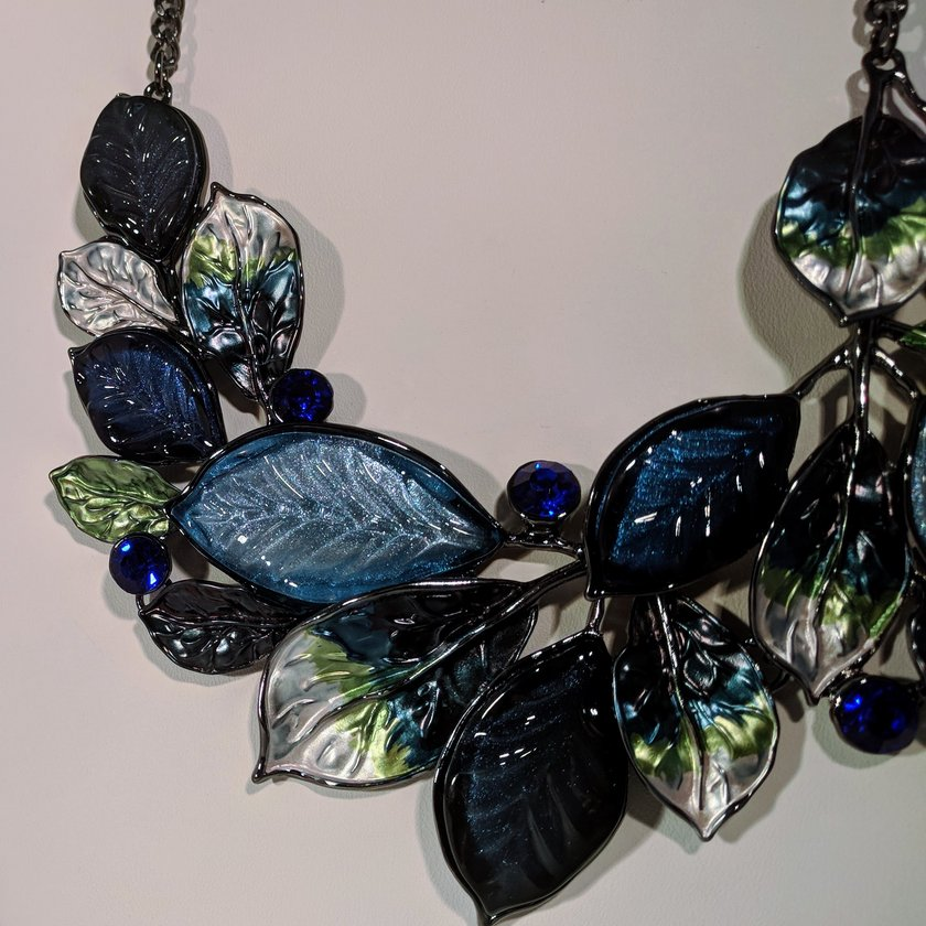 Blue Leaves with Rhinestones