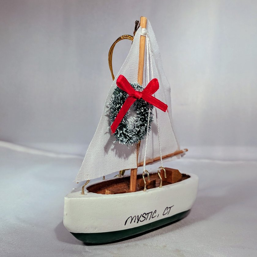 White Sailboat with Green Bottom and Wreath
