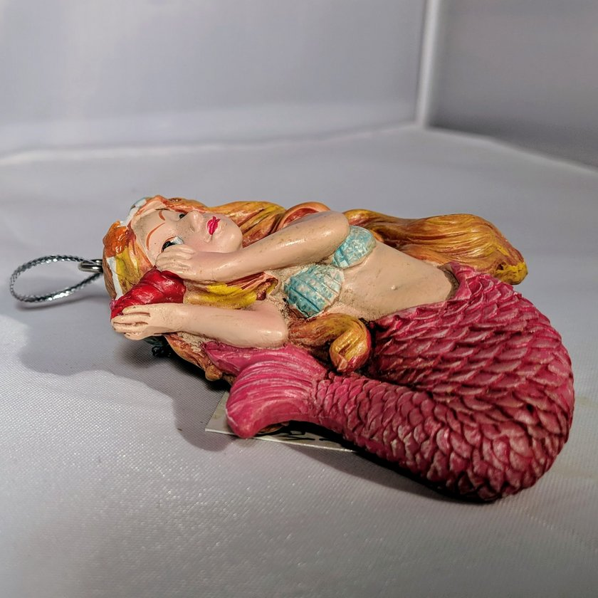 Mermaid Ornament with Pink Body and Shell