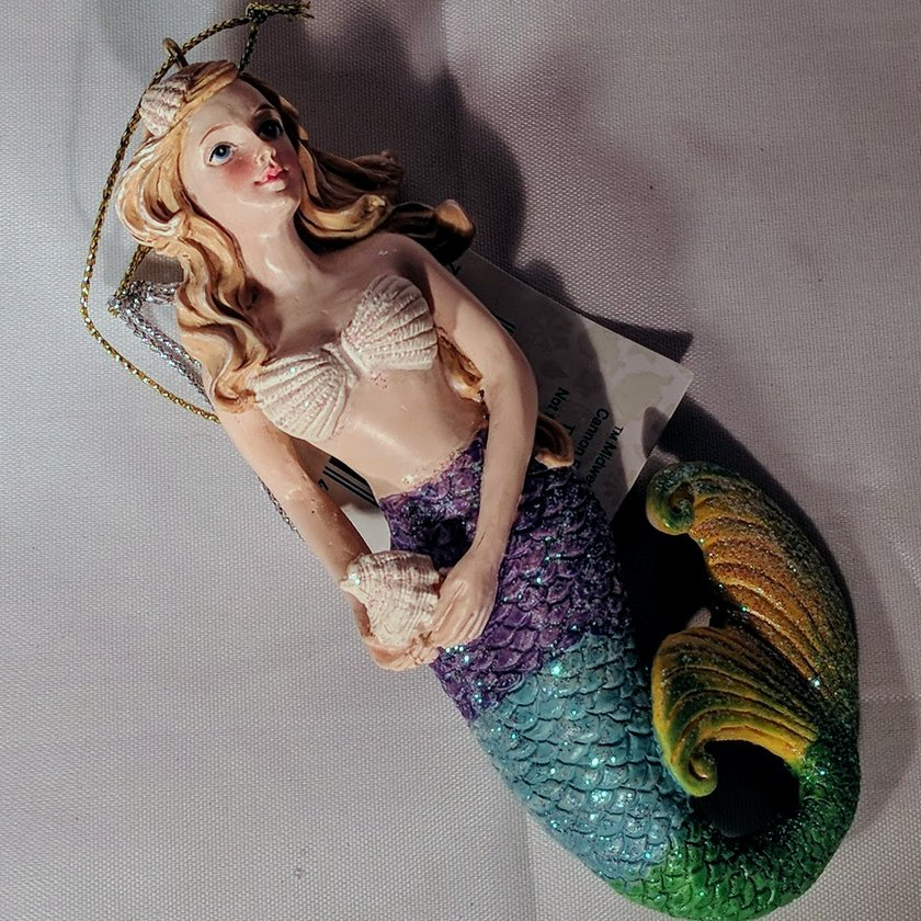 Mermaid Ornament with Purple, Blue, Green and Yellow Tail