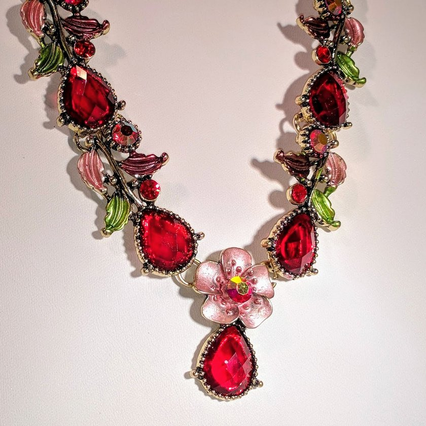 Red Crystal Necklace With Green and Pink Flower