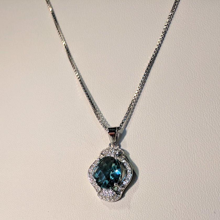 Blue CZ Necklace