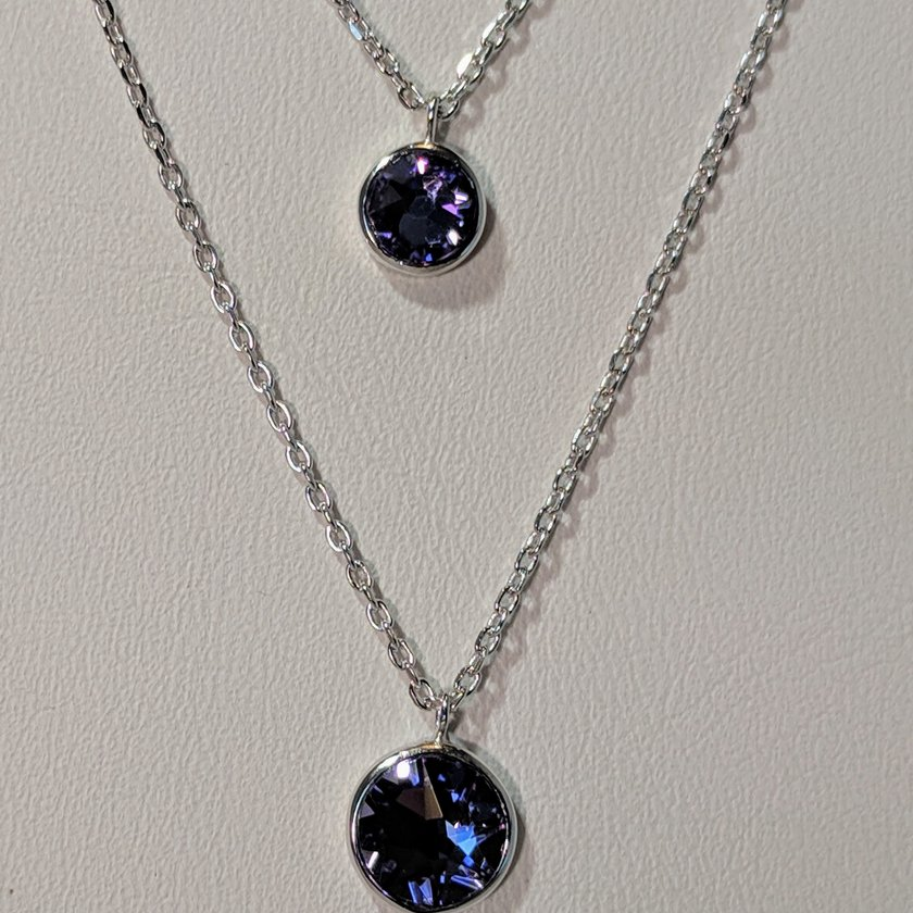 Purple Swarovski on Double Chained Necklace