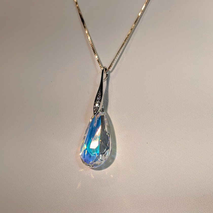 Clear Pear Shaped Swarovski Necklace