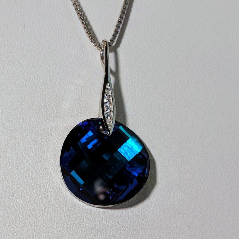 Blue Round Swarovski Crystal Necklace